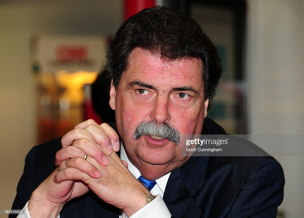 President <a gi-track='captionPersonalityLinkClicked' href=/galleries/search?phrase=Mike+Helton+-+Racing+Executive&family=editorial&specificpeople=226522 ng-click='$event.stopPropagation()'>Mike Helton</a> is interviewed during the Road to Daytona Fueled By Sunoco Tour at CNN Center on February 11, 2013 in Atlanta, Georgia.