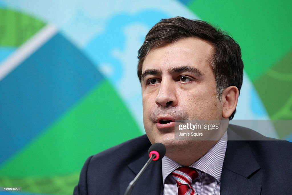 President <a gi-track='captionPersonalityLinkClicked' href=/galleries/search?phrase=Mikheil+Saakashvili&family=editorial&specificpeople=603665 ng-click='$event.stopPropagation()'>Mikheil Saakashvili</a> of Georgia speaks during a press conference at the MPC on day 2 of the Vancouver 2010 Winter Olympics on February 13, 2010 in Vancouver, Canada.