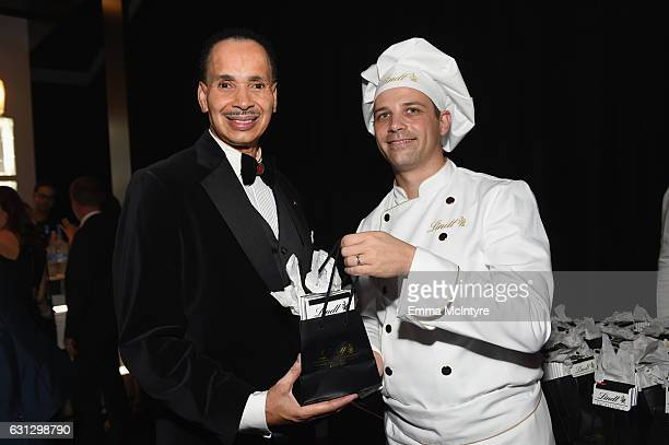 President MMPA Jarvee Hutcherson and Master Chocolatier David Vignau attend The Weinstein Company and Netflix Golden Globe Party presented with FIJI...