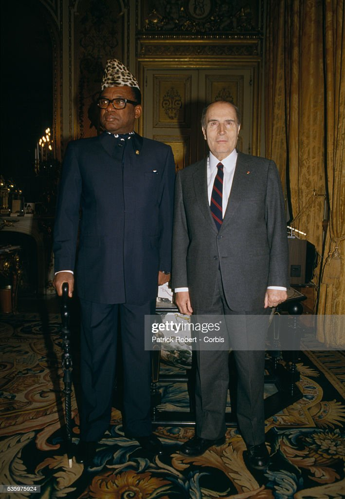President Mobutu Sese Seko of Zaire meets with French president Francois Mitterrand in Paris.