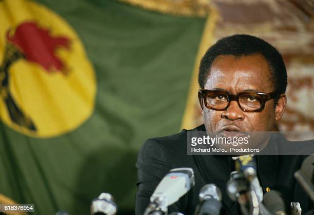 President Mobutu Sese Seko of Zaire speaks at a press conference in Paris He declared himself president of the renamed Democratic Republic of Congo...