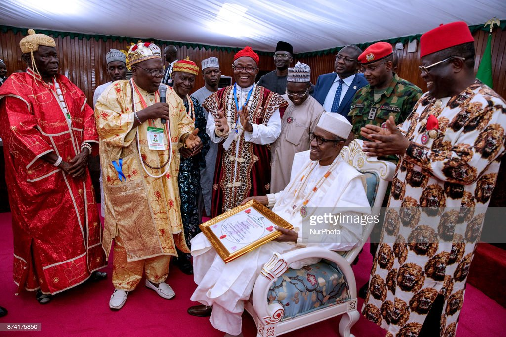 President Muhammadu Buhari conferred with the title of Ochioha NdiIgbo 1 by South East traditional council of rulers led by Eze Eberechi Dick during his visit to Ebonyi State, Nigeria