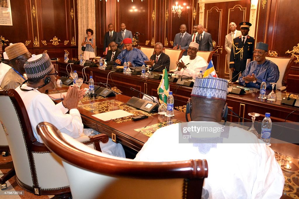 President Muhammadu Buhari of Nigeria attends a meeting with Chadian president Idriss Deby Itno on June 4 2015 at the presidential palace in...
