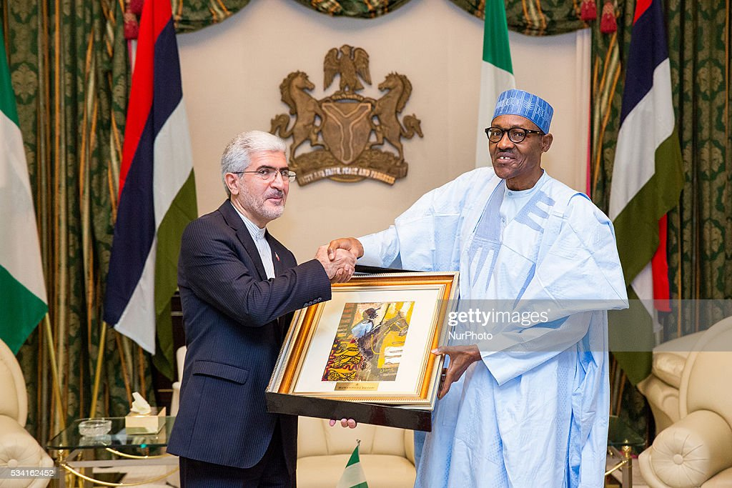 President <a gi-track='captionPersonalityLinkClicked' href=/galleries/search?phrase=Muhammadu+Buhari&family=editorial&specificpeople=2638261 ng-click='$event.stopPropagation()'>Muhammadu Buhari</a> receives in farewell audience Amb. Saeed Koozechi, Outgoing Ambassador of Islamic Republic of Iran to Nigeria in Statehouse, 25th May 2016