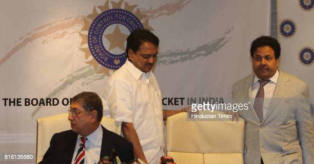 BCCI president N Srinivasan with Vilasrao Deshmukh and Rajeev Shukla during the press conference at BCCI head quarters at Wankhede Stadium on Monday