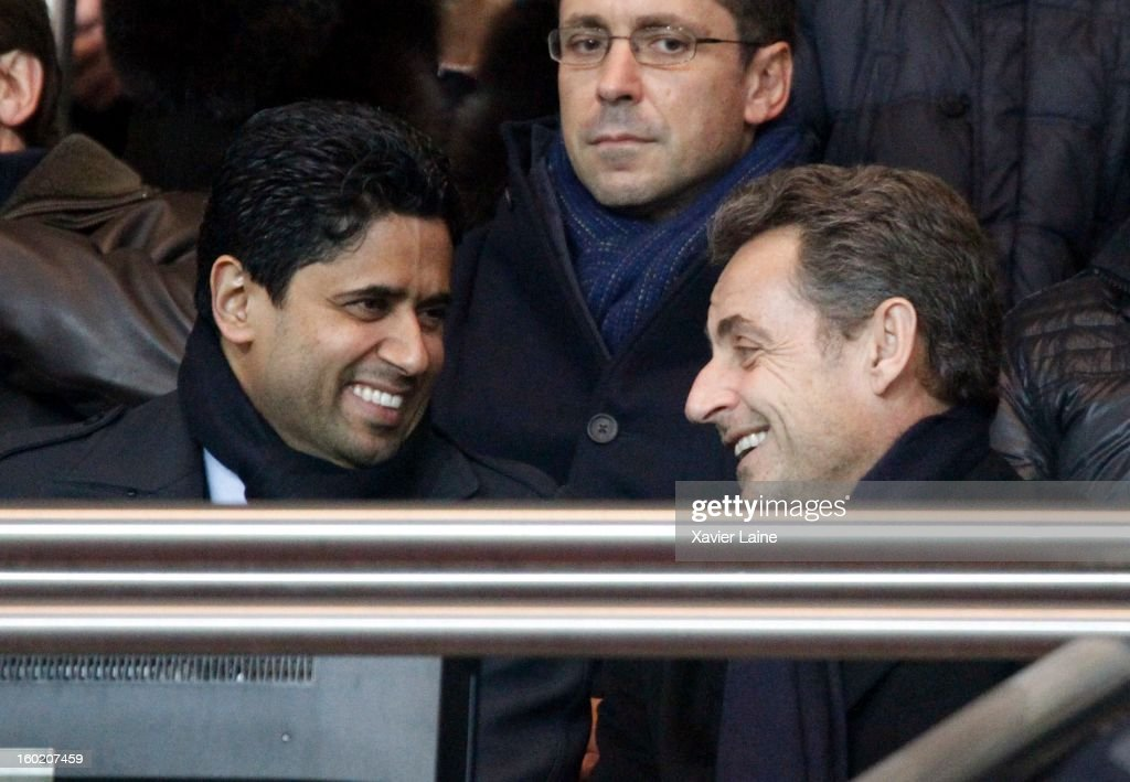 President Nasser Al Khelaifi and French Politician <a gi-track='captionPersonalityLinkClicked' href=/galleries/search?phrase=Nicolas+Sarkozy&family=editorial&specificpeople=211375 ng-click='$event.stopPropagation()'>Nicolas Sarkozy</a> attend before French League one between Paris Saint-Germain FC and Lille LOSC, at Parc des Princes on January 27, 2013 in Paris, France.