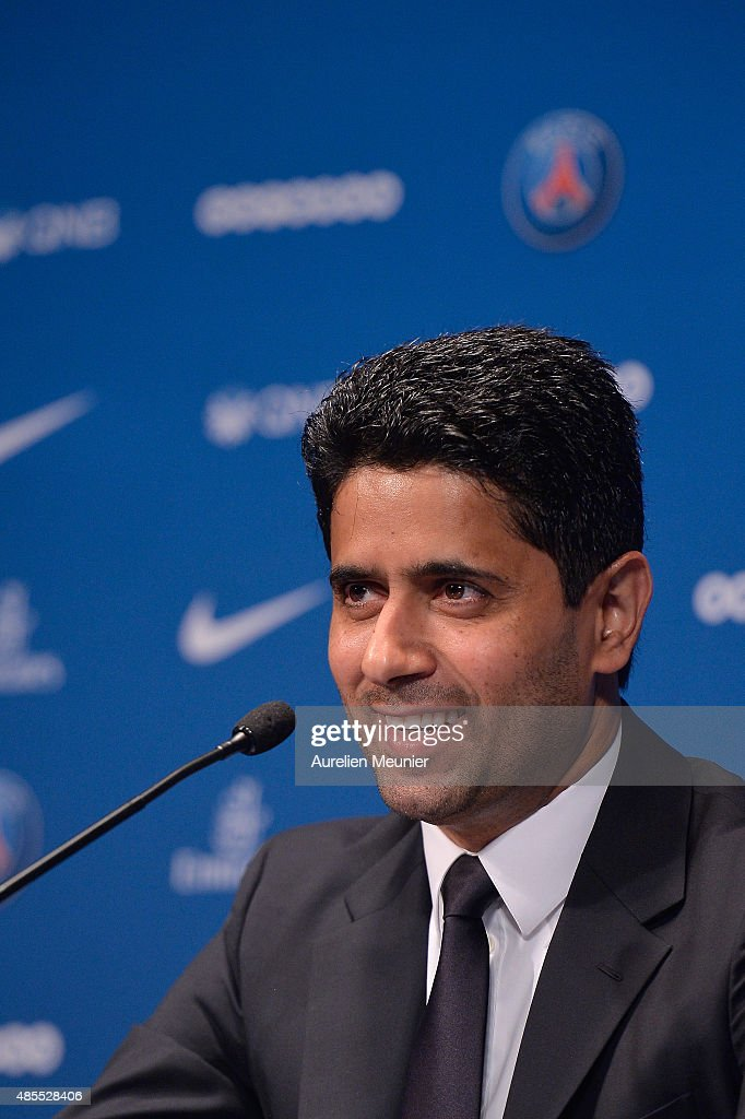 President Nasser Al-Khelaifi addresses the press during the presentation of Layvin Kurzawa to the media at Parc des Princes on August 28, 2015 in Paris, France. Layvin Kurzawa signed a five years contract with the Paris Saint Germain.
