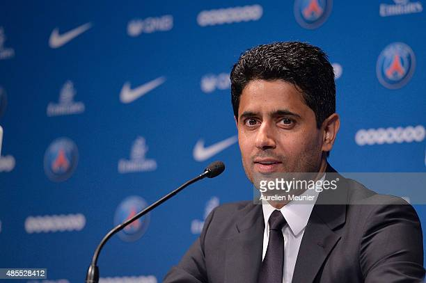 President Nasser AlKhelaifi addresses the press during the presentation of Layvin Kurzawa to the media at Parc des Princes on August 28 2015 in Paris...