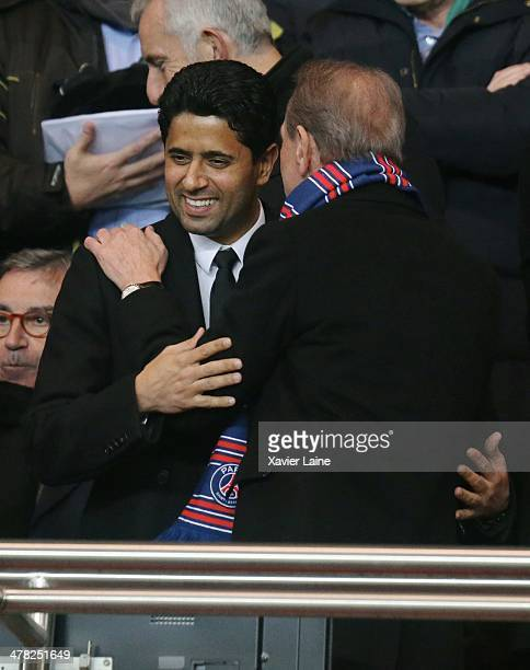 President Nasser AlKhelaifi and French politician Bertrand Delanoe attends the UEFA Champions League between Paris SaintGermain FC and Bayer...