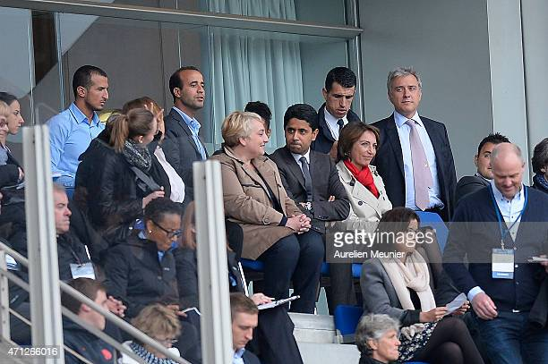 President Nasser AlKhelaifi and Marisol Touraine French Minister of Social Affairs attend the UEFA Womens Champions League Semifinal game between...