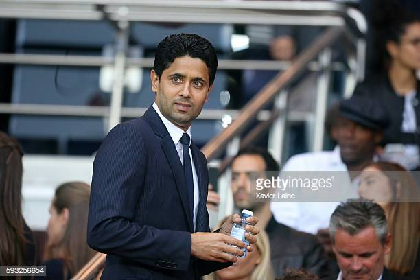 President Nasser AlKhelaifi of Paris SaintGermain during the French Ligue 1 match between Paris SaintGermain and FC Metz at Parc des Princes on...