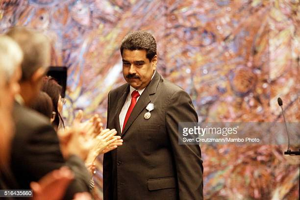 President Nicolas Maduro of Venzuela wears the Jose Marti medal at an award ceremony on March 18 2016 in Havana Cuba Maduro was awarded the medal...