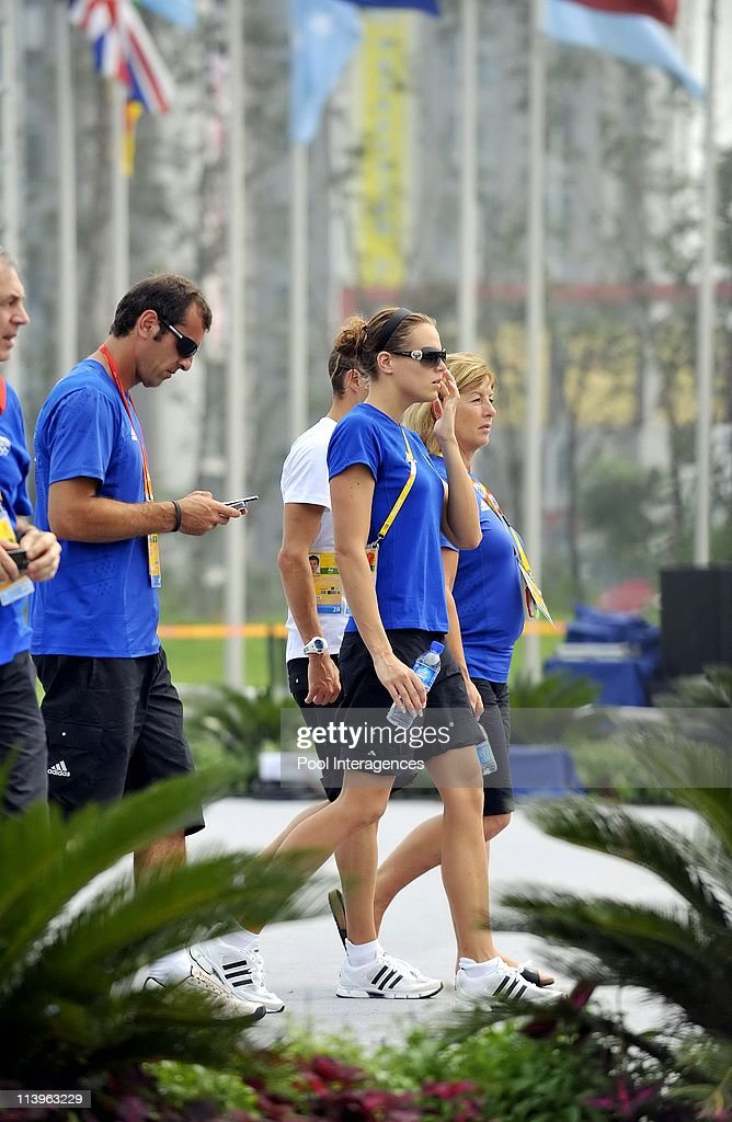 President Nicolas Sarkozy meets the French athletes at the Olympic Village in Beijing China On August 08 2008Laure Manaudou The French President will...