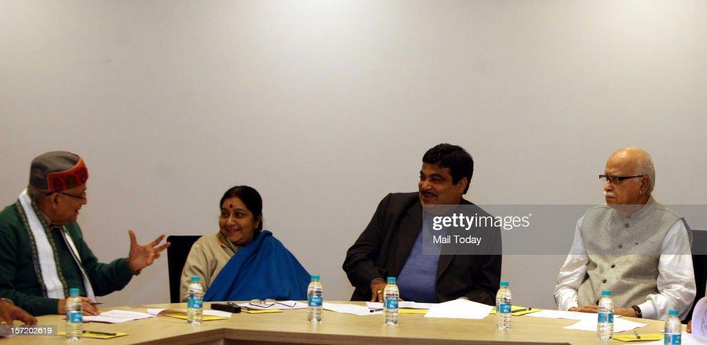 BJP president Nitin Gadkari, LK Advani, Sushma Swaraj and MM Joshi other leaders during the BJP CEC meeting in New Delhi on Wednesday.