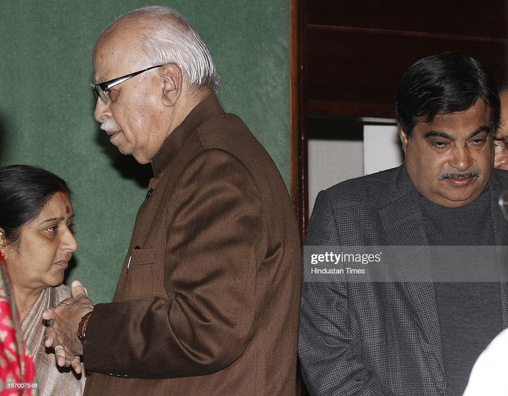 BJP President Nitin Gadkari , LK Advani, Sushma Swaraj ,during BJP Parliamentary party leaders meeting at Parliament house Annexe on November 27, 2012 in New Delhi, India.