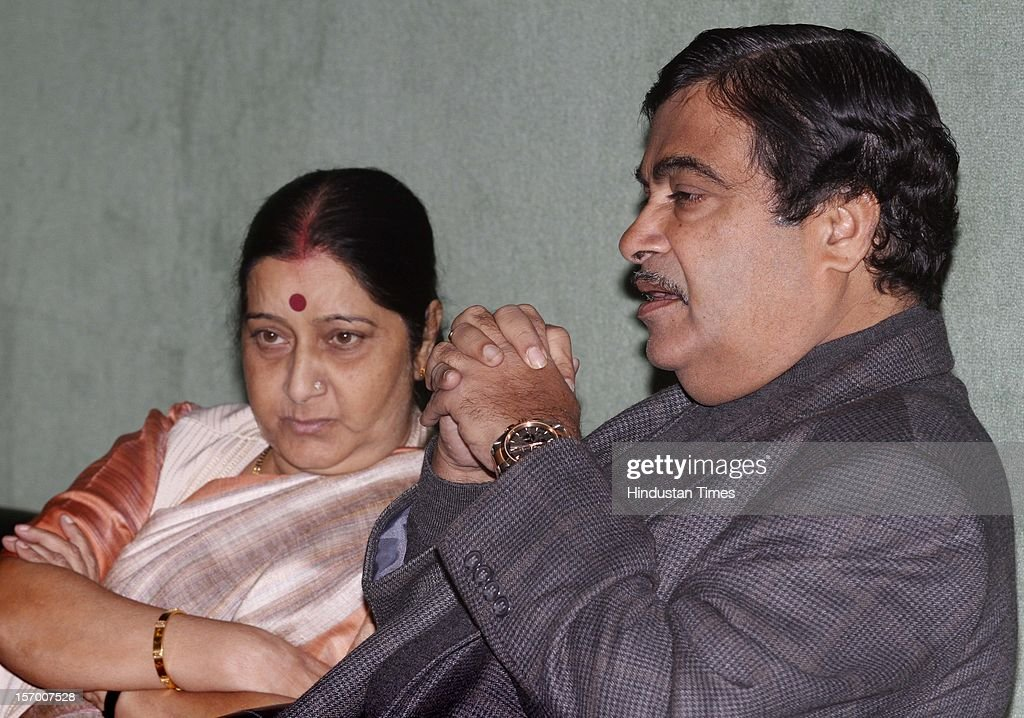 BJP President Nitin Gadkari with Sushma Swaraj during BJP Parliamentary party leaders meeting at Parliament house Annexe on November 27, 2012 in New Delhi, India.