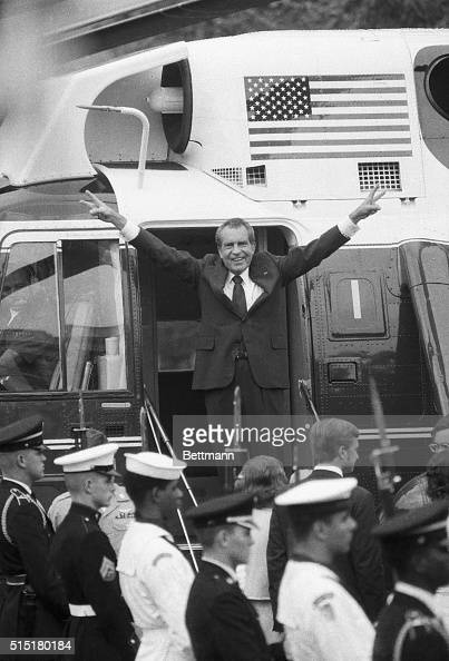President Nixon gives his famous wave from the steps of Marine One after his resignation as President of the United States