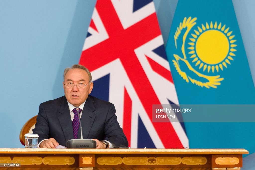 President Nursultan Nazarbayev makes a speech after signing a strategic partnership agreement with British Prime Minister David Cameron (unseen) at the Presidential Palace in Astana, Kazakhstan on July 1, 2013. David Cameron arrived in Kazakhstan on June 30, 2013 on the first ever trip by a serving British prime minister, hoping to boost trade ties but also promising to raise human rights concerns.