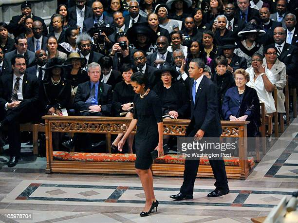 President Obama and First Lady Michelle Obama arrive at the church as Dr Dorothy Height is memorialized at funeral services at the National Cathedral...