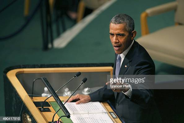 S President Obama delivers remarks at the United Nations General Assembly at UN headquarters on September 28 2015 in New York City The ongoing war in...