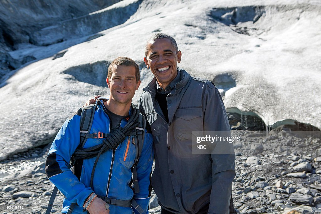 GRYLLS -- 'President Obama' Episode 209 -- Pictured: (l-r) <a gi-track='captionPersonalityLinkClicked' href=/galleries/search?phrase=Bear+Grylls&family=editorial&specificpeople=3061585 ng-click='$event.stopPropagation()'>Bear Grylls</a>, President <a gi-track='captionPersonalityLinkClicked' href=/galleries/search?phrase=Barack+Obama&family=editorial&specificpeople=203260 ng-click='$event.stopPropagation()'>Barack Obama</a> --