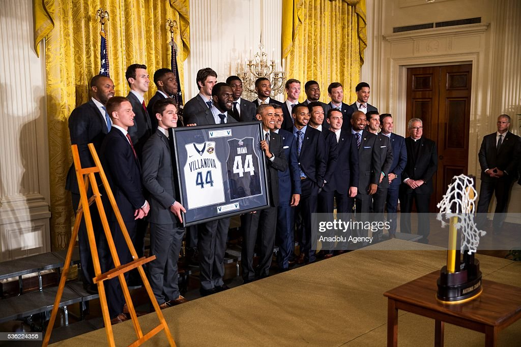 President Obama honors the 2016 NCAA Champion's, the Villanova Wildcats mens basketball team, in the East Room of the White House in Washington, USA on May 31, 2016.