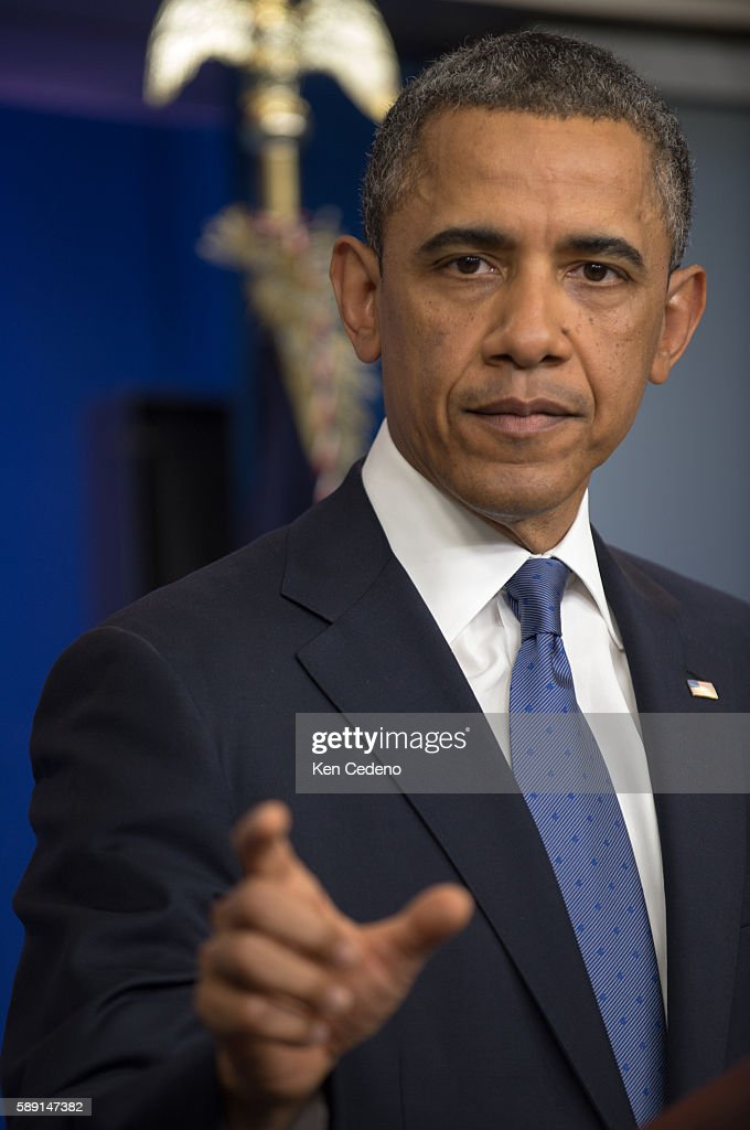 US President Obama makes remarks in the James Bradey briefing room of the White House after meeting with Congressional leaders December 28 2012 The...