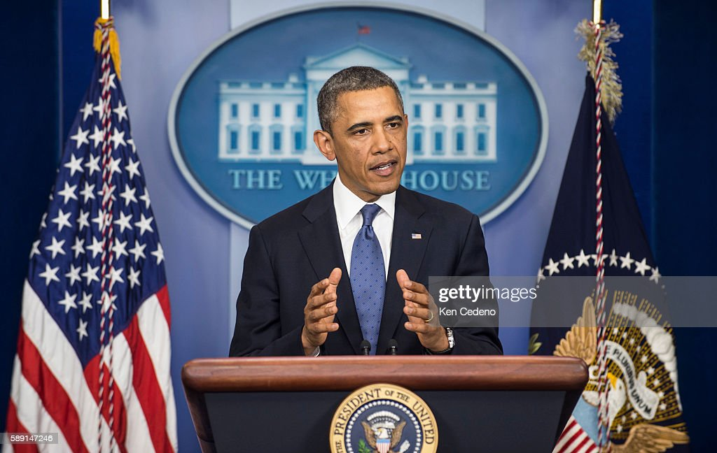US President Obama makes remarks in the James Brady briefing room of the White House after meeting with Congressional leaders to help avoid the...
