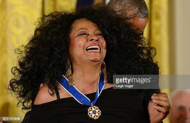 President Obama presents Diana Ross with the 2016 Presidential Medal Of Freedom at the White House on November 22 2016 in Washington DC