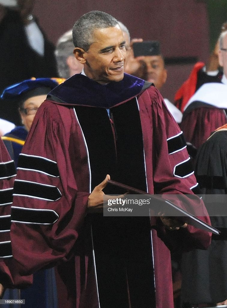 President Obama receives an honorary Doctor Of Laws degree during Morehouse College 2013 commencement at Morehouse College on May 19, 2013 in Atlanta, Georgia.