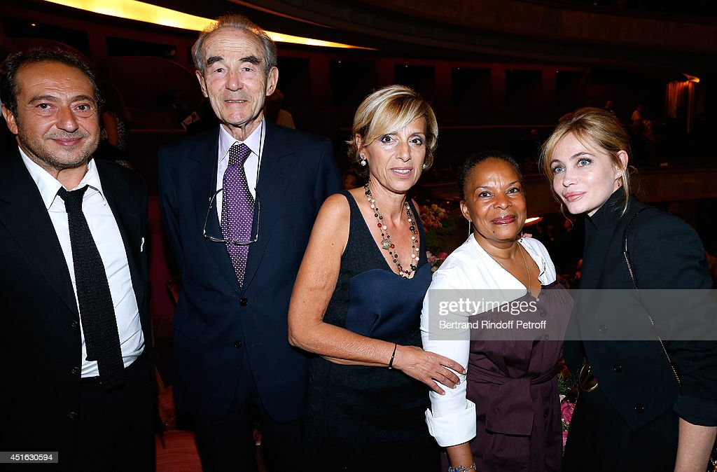 President of '19th Amnesty International France' Gala, Paytrick Timsit, Professor Christian Cabrol, President of Amnesty International France Genevieve Garrigos, French Justice Minister <a gi-track='captionPersonalityLinkClicked' href=/galleries/search?phrase=Christiane+Taubira&family=editorial&specificpeople=3798541 ng-click='$event.stopPropagation()'>Christiane Taubira</a> and President of '20th Amnesty International France' Gala, <a gi-track='captionPersonalityLinkClicked' href=/galleries/search?phrase=Emmanuelle+Beart&family=editorial&specificpeople=171374 ng-click='$event.stopPropagation()'>Emmanuelle Beart</a> attend the '20th Amnesty International France' : Gala 'Music against oblivion'. Held at Theatre des Champs-Elysees on July 2, 2014 in Paris, France.