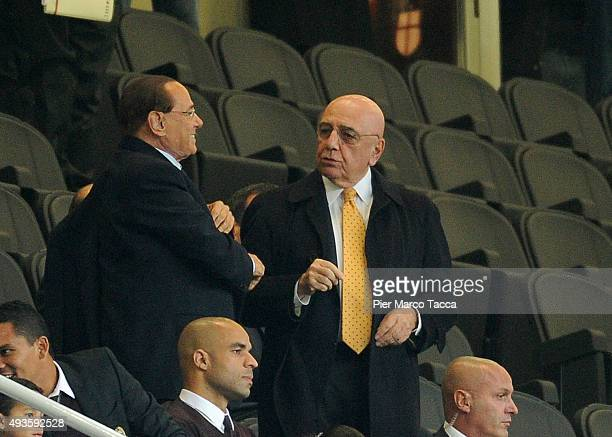 President of AC Milan Silvio Berlusconi and Adriano Galliani atend the Berlusconi Trophy match between AC Milan and FC Internazionale at Stadio...