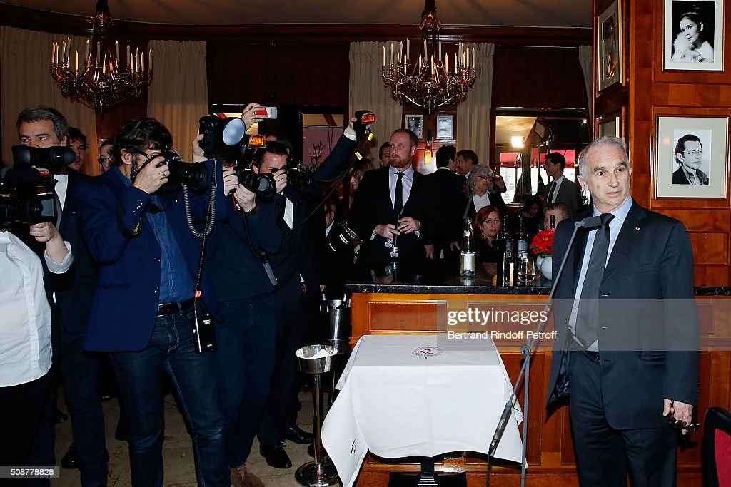 President of Academy of Cesar <a gi-track='captionPersonalityLinkClicked' href=/galleries/search?phrase=Alain+Terzian&family=editorial&specificpeople=2455092 ng-click='$event.stopPropagation()'>Alain Terzian</a> attends 'Cesar 2016 Nominee Luncheon' at Le Fouquet's on February 6, 2016 in Paris, France.