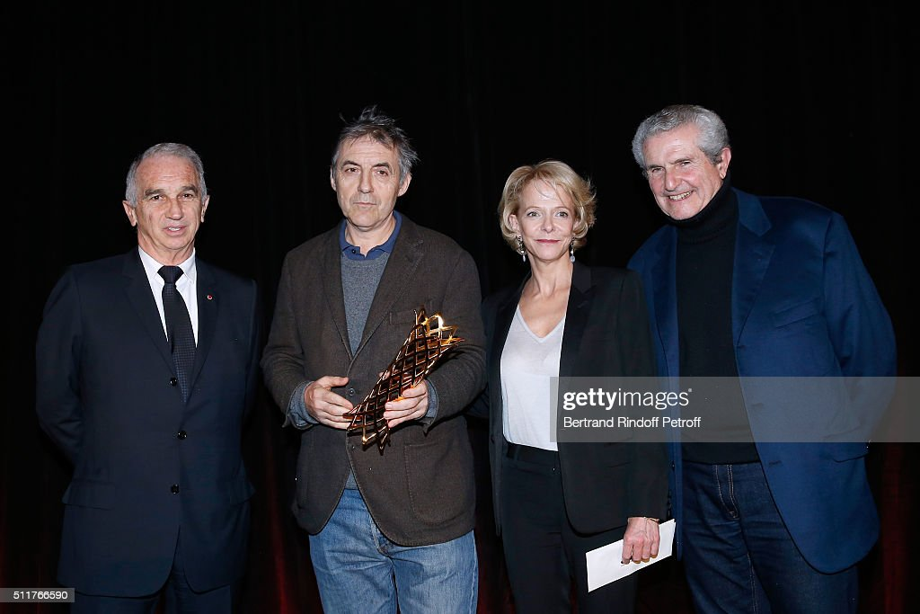 President of Academy of Cesar <a gi-track='captionPersonalityLinkClicked' href=/galleries/search?phrase=Alain+Terzian&family=editorial&specificpeople=2455092 ng-click='$event.stopPropagation()'>Alain Terzian</a>, Winner of the price for movies 'Dheepan' and 'Trois souvenirs de ma jeunesse' Pascal Caucheteux, President of CNC Frederique Bredin and Director and President of the 41th Cesar 2016 Ceremony, <a gi-track='captionPersonalityLinkClicked' href=/galleries/search?phrase=Claude+Lelouch&family=editorial&specificpeople=207051 ng-click='$event.stopPropagation()'>Claude Lelouch</a> attend the 'Diner des Producteurs' - Producer's Dinner - Cesar 2016 at Four Seasons Hotel George V on February 22, 2016 in Paris, France.