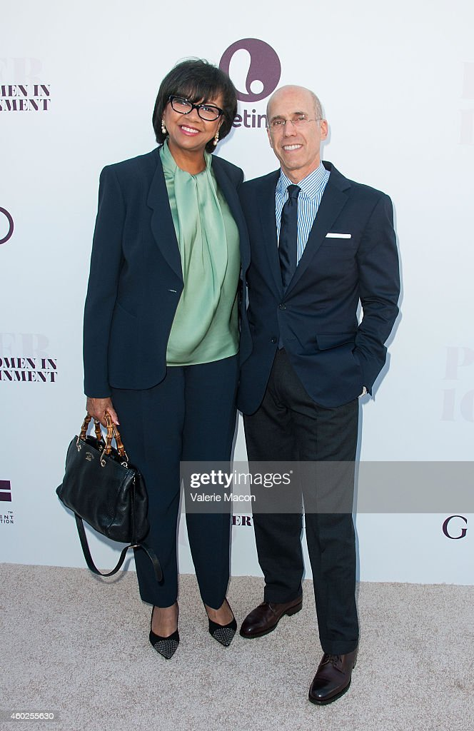 President Of Academy Of Motion Picture Arts & Sciences Cheryl Boone Isaacs (L) and CEO of Dreamworks Animation Jeffrey Katzenberg attend The Hollywood Reporter's 23rd Annual Women In Entertainment Breakfast at Milk Studios on December 10, 2014 in Los Angeles, California.