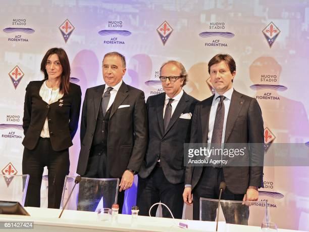 President of ACF Fiorentina Mario Cognigni coowner of the ACF Fiorentina Andrea Della Valle and Mayor of Florence Dario Nardella attend the...