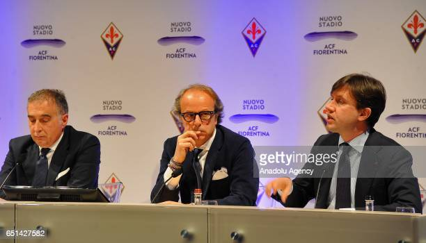 President of ACF Fiorentina Mario Cognigni coowner of the ACF Fiorentina Andrea Della Valle and Mayor of Florence Dario Nardella attend the hold a...