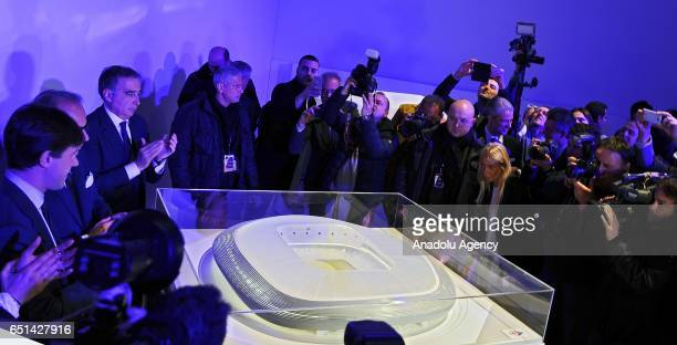 President of ACF Fiorentina Mario Cognigni coowner of the ACF Fiorentina Andrea Della Valle and Mayor of Florence Dario Nardella and press members...