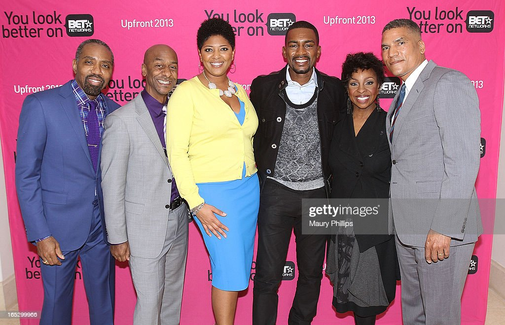 President of Advertising Sales BET Networks Louis Carr, President of Music Programming Stephen Hill, Vicky Free, Bill Bellamy, Gladys Knight and General Manager BET Networks Paxton Baker attend BET Networks 2013 Los Angeles Upfront at Montage Beverly Hills on April 2, 2013 in Beverly Hills, California.