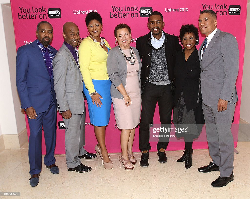 President of Advertising Sales BET Networks Louis Carr, President of Music Programming Stephen Hill, Vicky Free, Chairman/CEO BET Networks Debra Lee, Bill Bellamy, Gladys Knight and General Manager BET Networks Paxton Baker attend BET Networks 2013 Los Angeles Upfront at Montage Beverly Hills on April 2, 2013 in Beverly Hills, California.