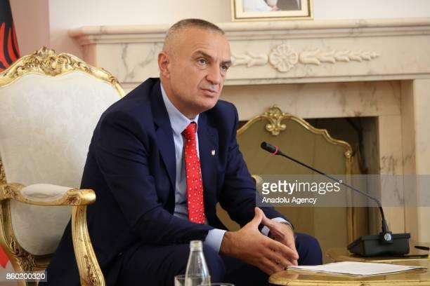 President of Albania Ilir Meta meets with President of Kosovo Hashim Thaci in Pristina Kosovo on October 11 2017
