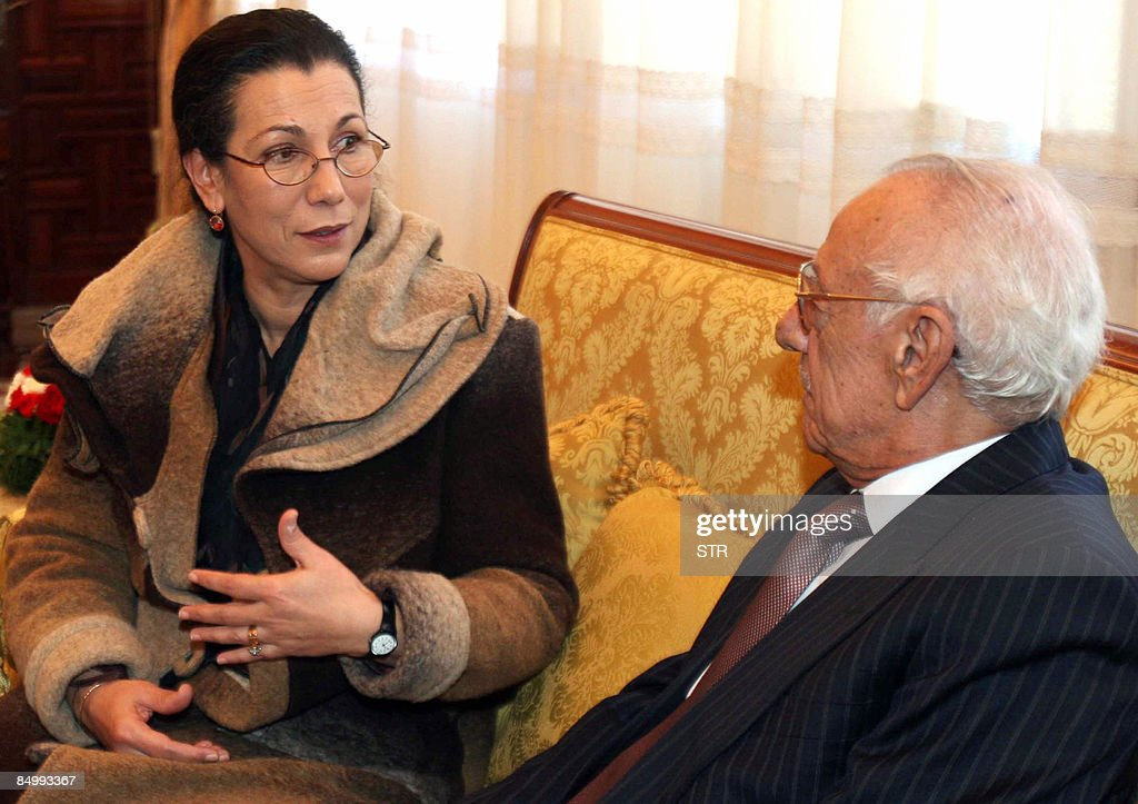 President of Algeria left wing Workers Party (PT) Louisa Hanoune (L) chats with Constitution Council's President Boualem Bessayeh after she signed her official Presidential candidature document, on February 23, 2009 in Algiers. Candidates are required to garner 600 signatures from elected officials or 75,000 signatures from voters in at least 25 of Algeria's 48 departments, a step that often prevents potential candidates from running. Hanoune, is the only woman to run in the poll scheduled for April 9 in the north African country with the incumbent President Abdelaziz Bouteflika seeking an unprecedented third term.