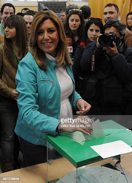 President of Andalusia's regional government and party candidate in the regional election Susana Diaz smiles as she casts her ballot during regional...