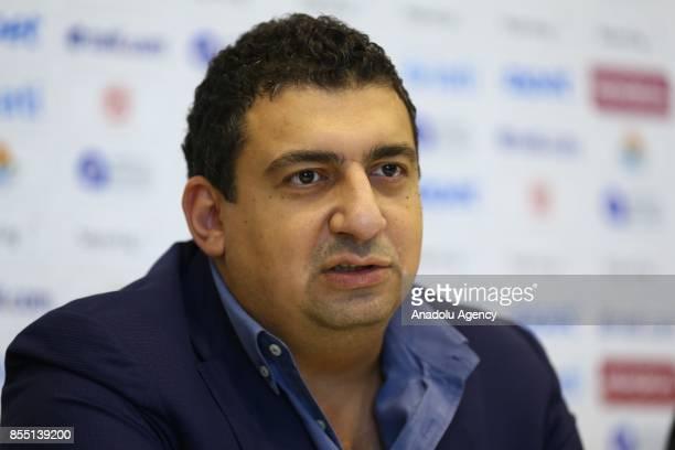 President of Antalyaspor Ali Safak Ozturk attends Antalyaspor's signing ceremony with former Brazilian player and head coach Leonardo Nascimento de...