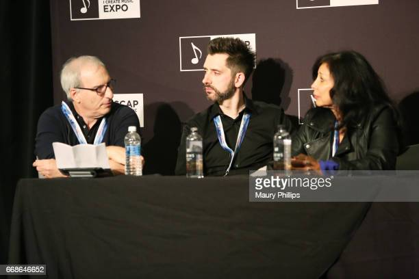 President of APM Music Adam Taylor composer Dan Brown Jr and 5 Alarm Music President/Executive Producer Cassie Lord speak onstage at 'Production...