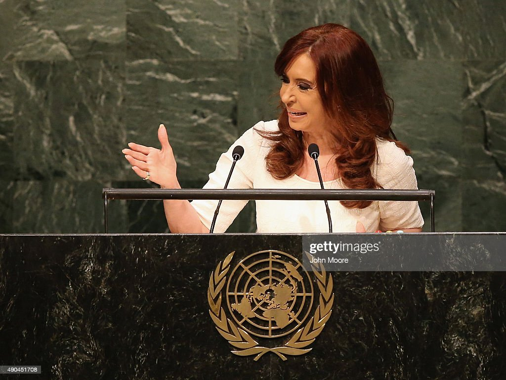 President of Argentina Cristina Fernandez de Kirchner addresses the United Nations General Assembly on September 28, 2015 in New York City. World leaders gathered for the 70th session of the annual meeting.