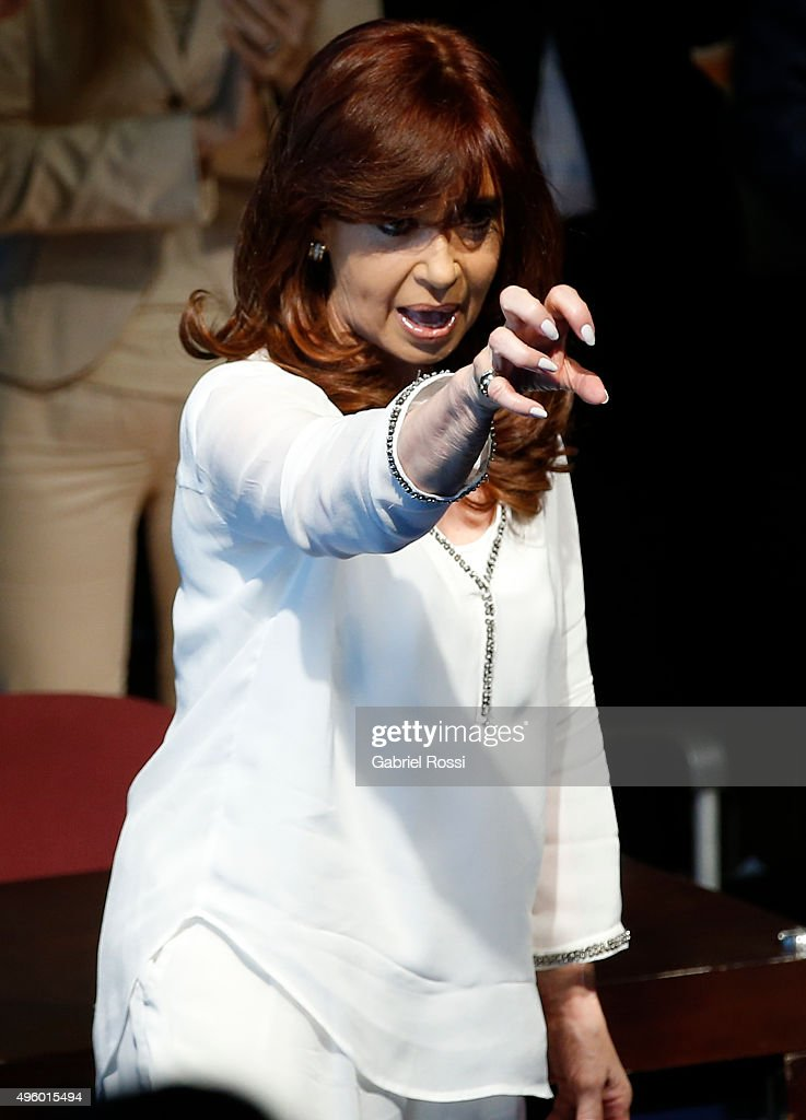 President of Argentina <a gi-track='captionPersonalityLinkClicked' href=/galleries/search?phrase=Cristina+Fernandez+de+Kirchner&family=editorial&specificpeople=565499 ng-click='$event.stopPropagation()'>Cristina Fernandez de Kirchner</a> gestures during the inauguration of the second stage of the Scientific and Technological Hub at CONICET on November 06, 2015 in Buenos Aires, Argentina.
