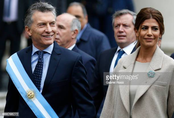 President of Argentina Mauricio Macri and his wife Juliana Awada look on prior the Tedeum Mass in honour to the 207th anniversary of the Revolucion...