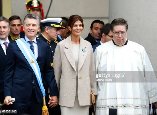 President of Argentina Mauricio Macri and his wife Juliana Awada smile after the Tedeum Mass in honour to the 207th anniversary of the Revolucion de...