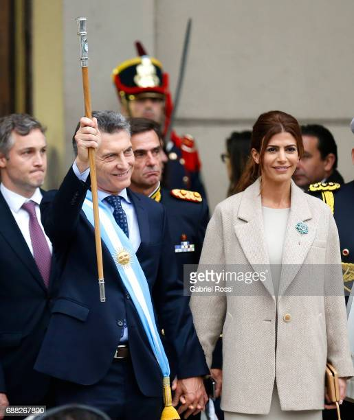 President of Argentina Mauricio Macri and his wife Juliana Awada greet the crowd after the Tedeum Mass in honour to the 207th anniversary of the...